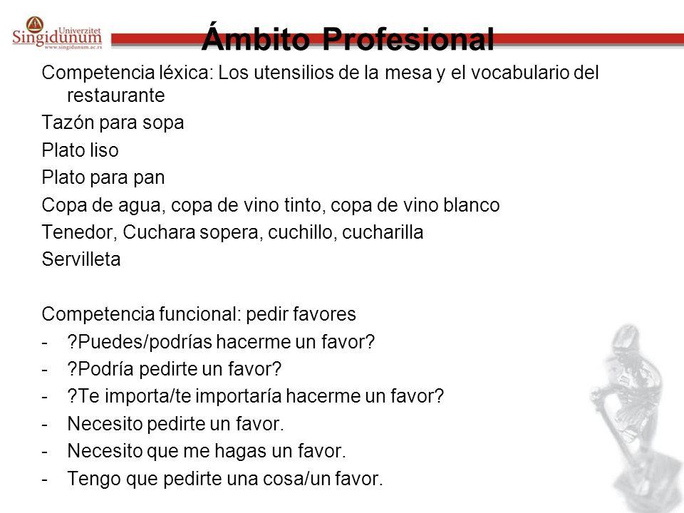 Ámbito Profesional Competencia léxica: Los utensilios de la mesa y el vocabulario del restaurante. Tazón para sopa.