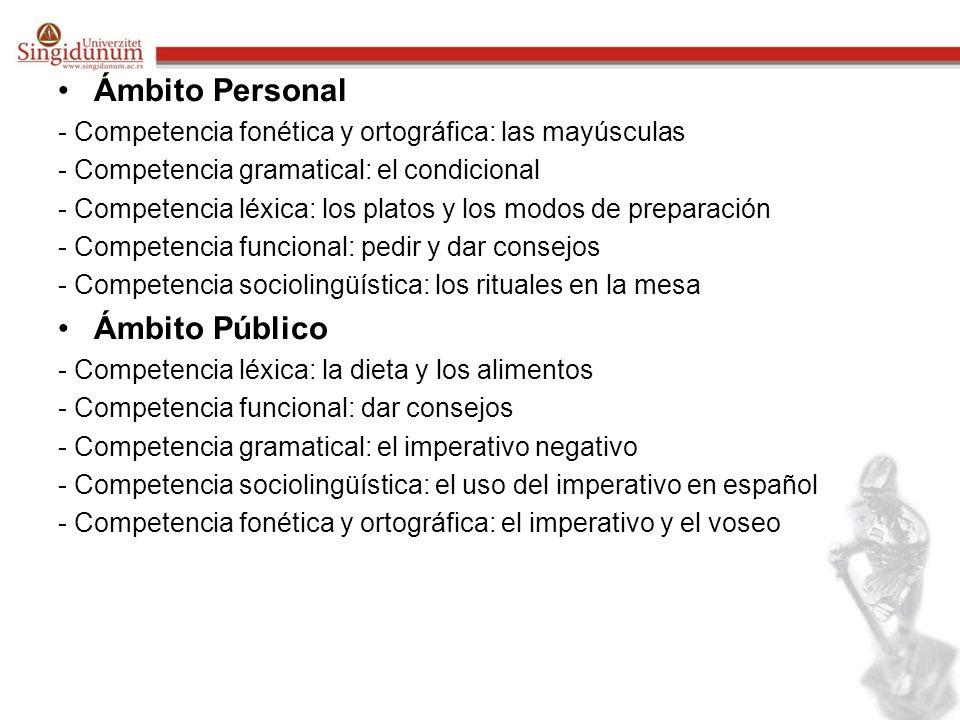 Ámbito Personal Ámbito Público