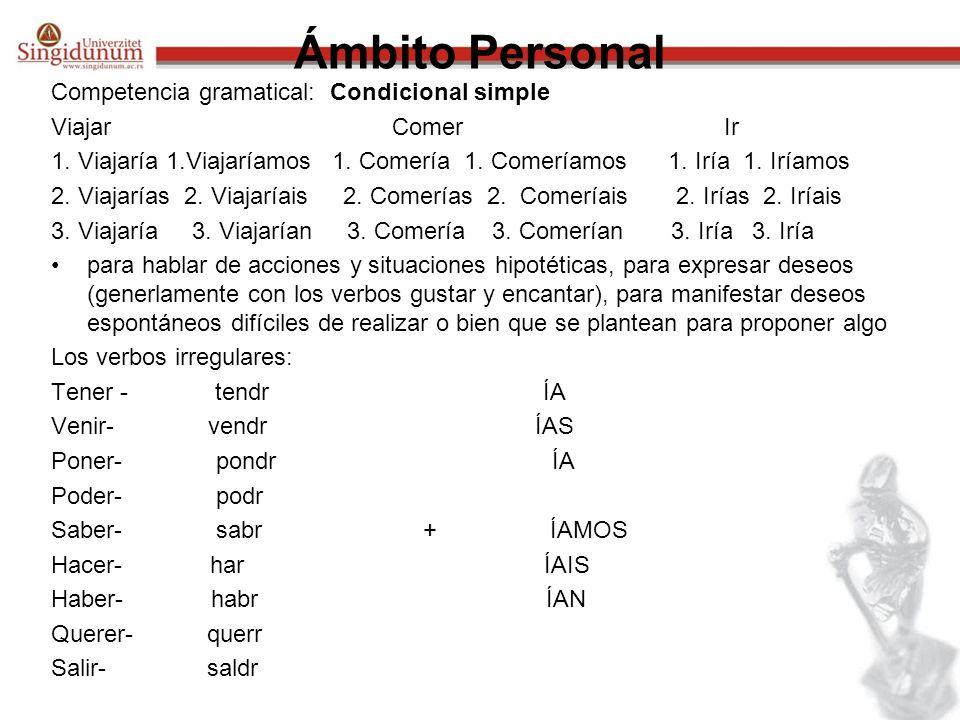 Ámbito Personal Competencia gramatical: Condicional simple