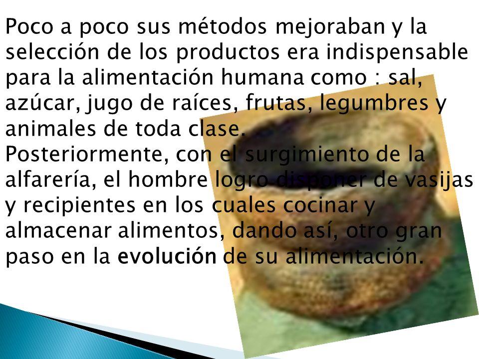 Poco a poco sus métodos mejoraban y la selección de los productos era indispensable para la alimentación humana como : sal, azúcar, jugo de raíces, frutas, legumbres y animales de toda clase.