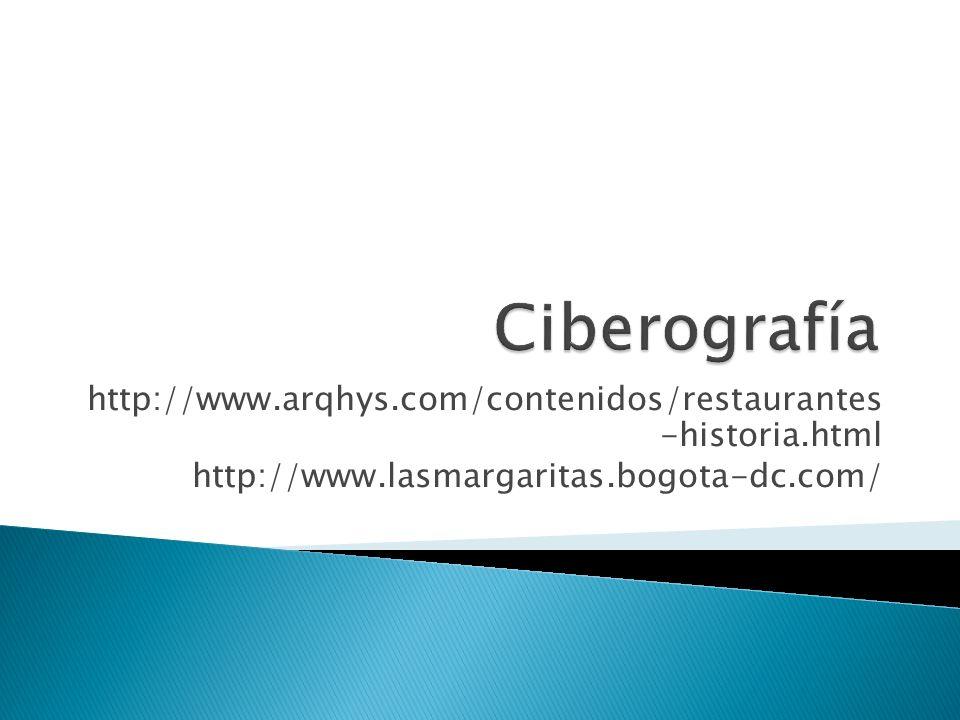 Ciberografía http://www.arqhys.com/contenidos/restaurantes -historia.html.