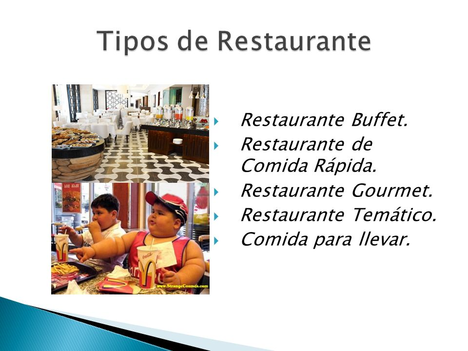 Tipos de Restaurante Restaurante Buffet. Restaurante de Comida Rápida.