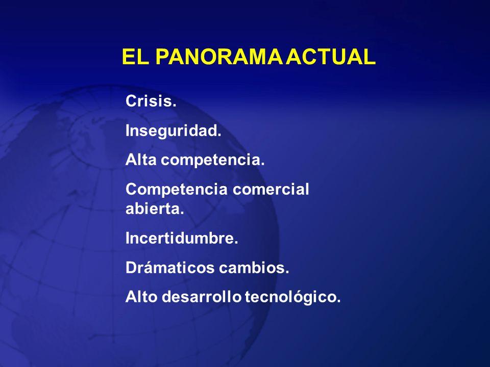 EL PANORAMA ACTUAL Crisis. Inseguridad. Alta competencia.