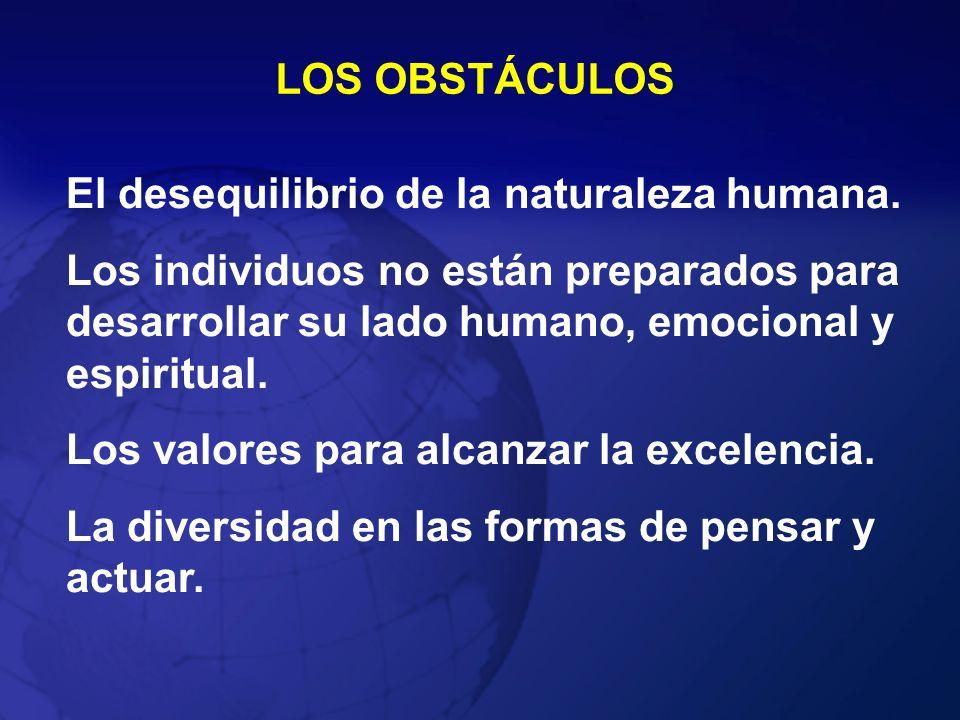 LOS OBSTÁCULOSEl desequilibrio de la naturaleza humana. Los individuos no están preparados para desarrollar su lado humano, emocional y espiritual.