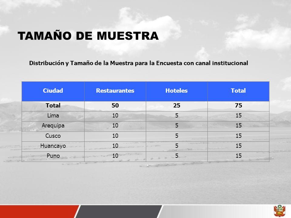 TAMAÑO DE MUESTRA Distribución y Tamaño de la Muestra para la Encuesta con canal institucional. Ciudad.