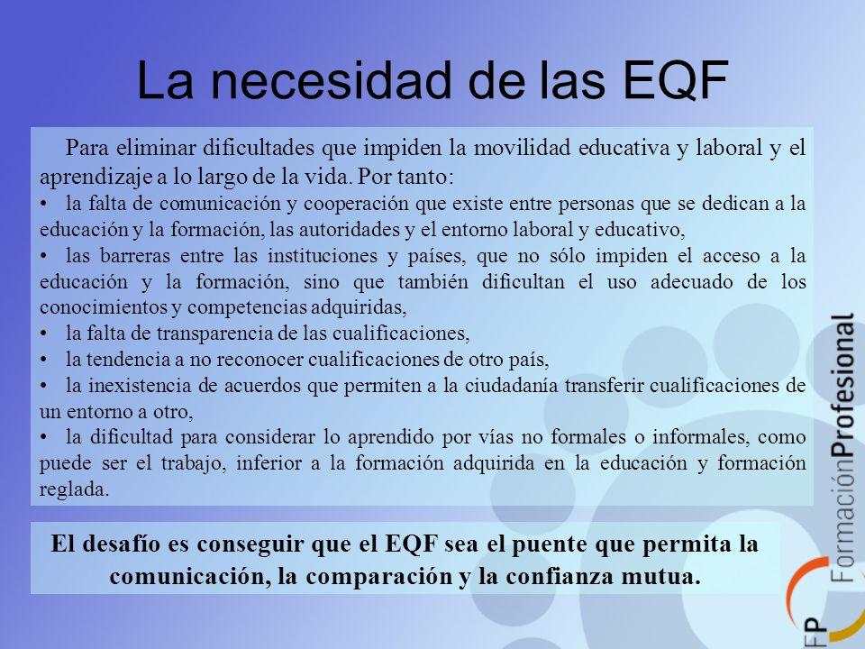 La necesidad de las EQF Para eliminar dificultades que impiden la movilidad educativa y laboral y el aprendizaje a lo largo de la vida. Por tanto: