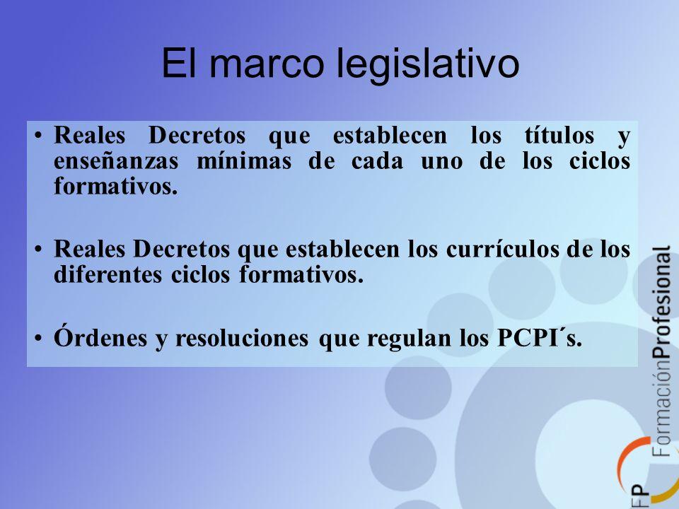 El marco legislativo Reales Decretos que establecen los títulos y enseñanzas mínimas de cada uno de los ciclos formativos.