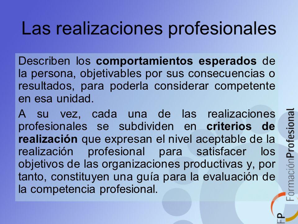 Las realizaciones profesionales
