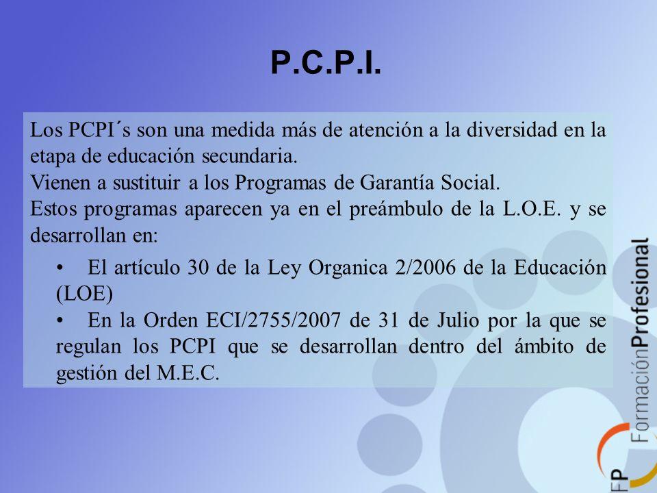 P.C.P.I. Los PCPI´s son una medida más de atención a la diversidad en la etapa de educación secundaria.