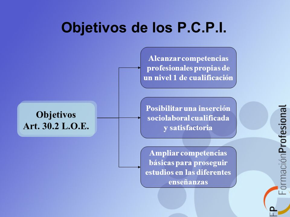 Objetivos de los P.C.P.I. Objetivos Art. 30.2 L.O.E.