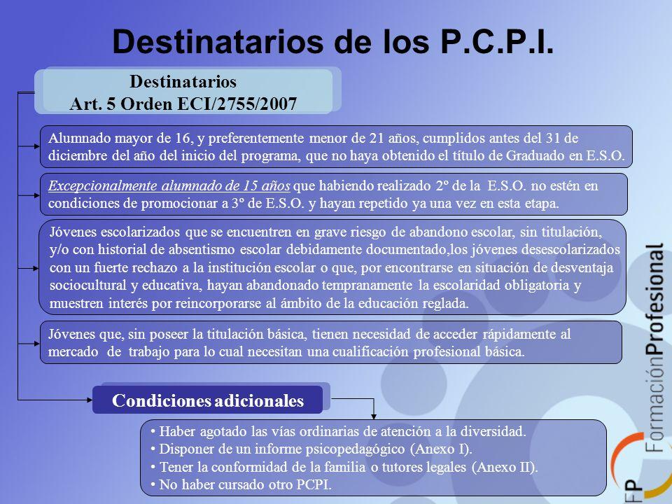 Destinatarios de los P.C.P.I.