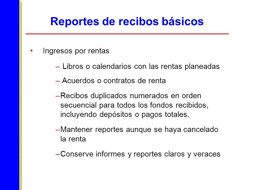 Reportes de recibos básicos