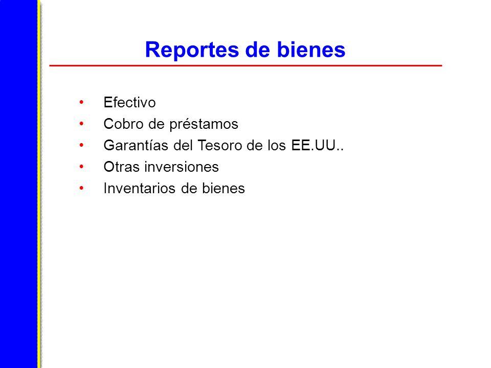 Reportes de bienes Efectivo Cobro de préstamos