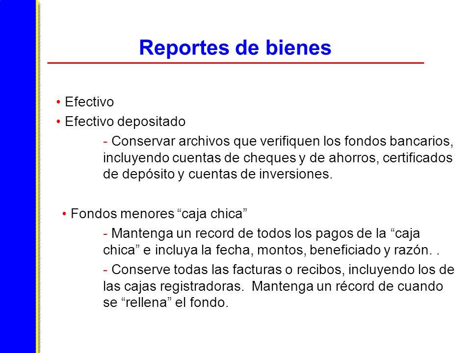 Reportes de bienes Efectivo Efectivo depositado