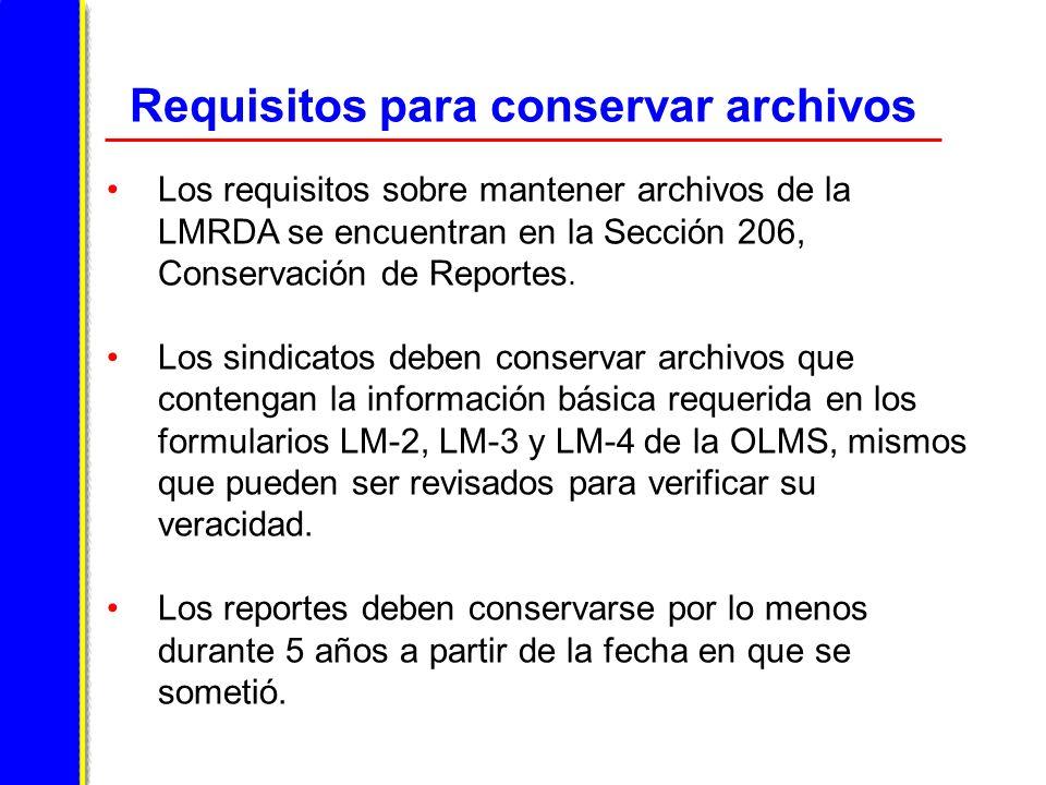 Requisitos para conservar archivos