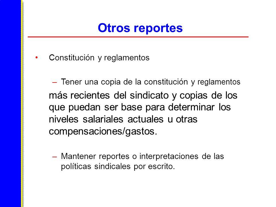 Otros reportes Constitución y reglamentos. Tener una copia de la constitución y reglamentos.
