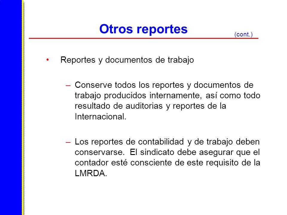 Otros reportes Reportes y documentos de trabajo