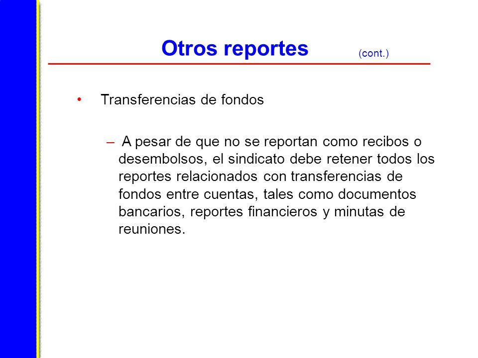 Otros reportes Transferencias de fondos