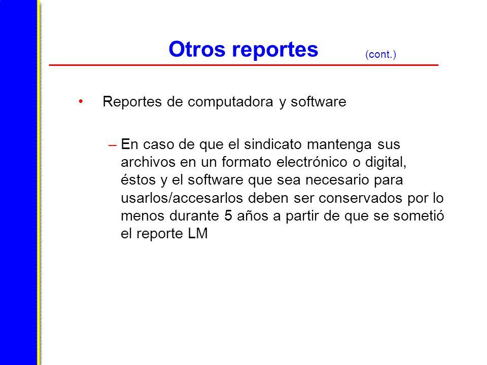 Otros reportes Reportes de computadora y software