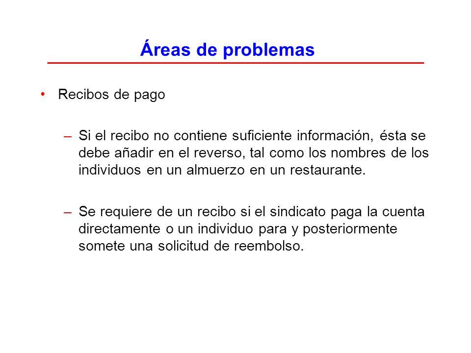 Áreas de problemas Recibos de pago