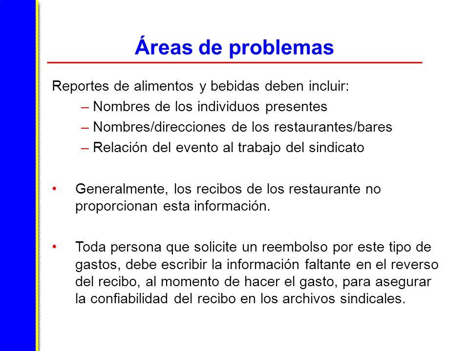Áreas de problemas Reportes de alimentos y bebidas deben incluir: