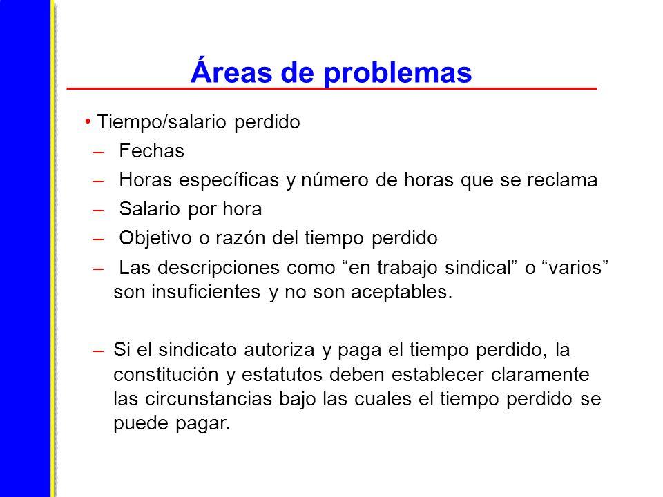 Áreas de problemas Tiempo/salario perdido Fechas