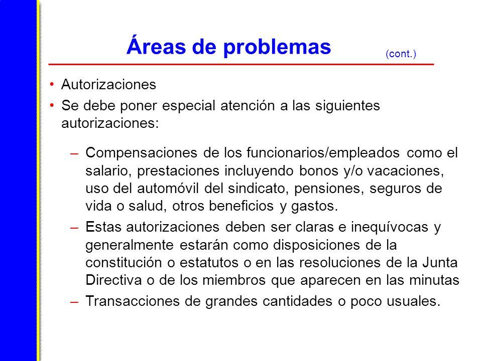 Áreas de problemas Autorizaciones