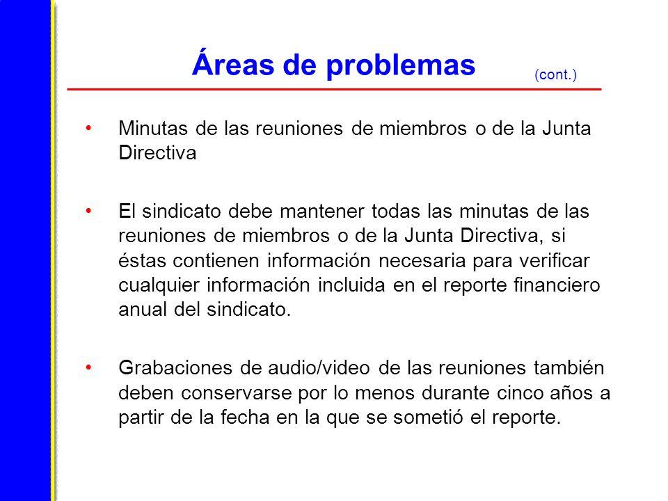 Áreas de problemas (cont.) Minutas de las reuniones de miembros o de la Junta Directiva.