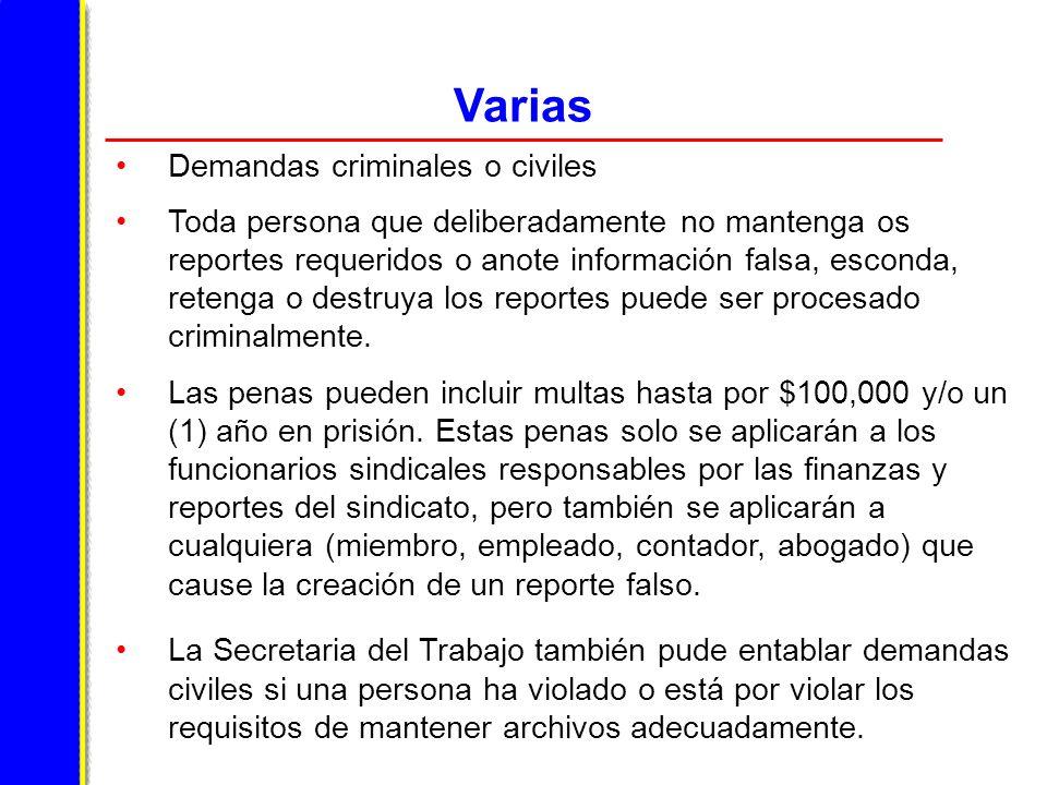 Varias Demandas criminales o civiles