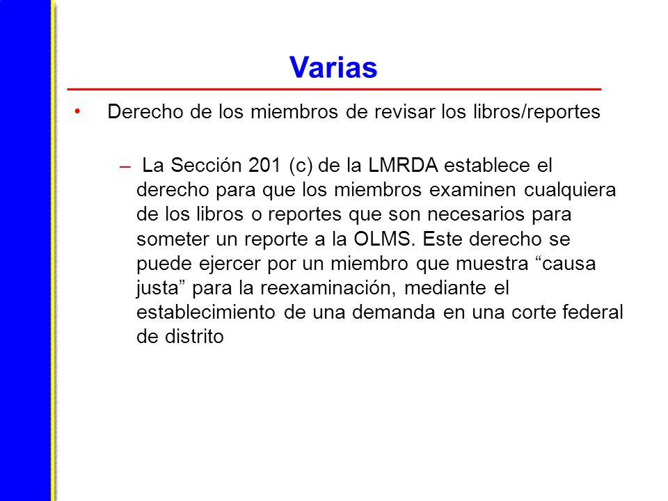 Varias Derecho de los miembros de revisar los libros/reportes