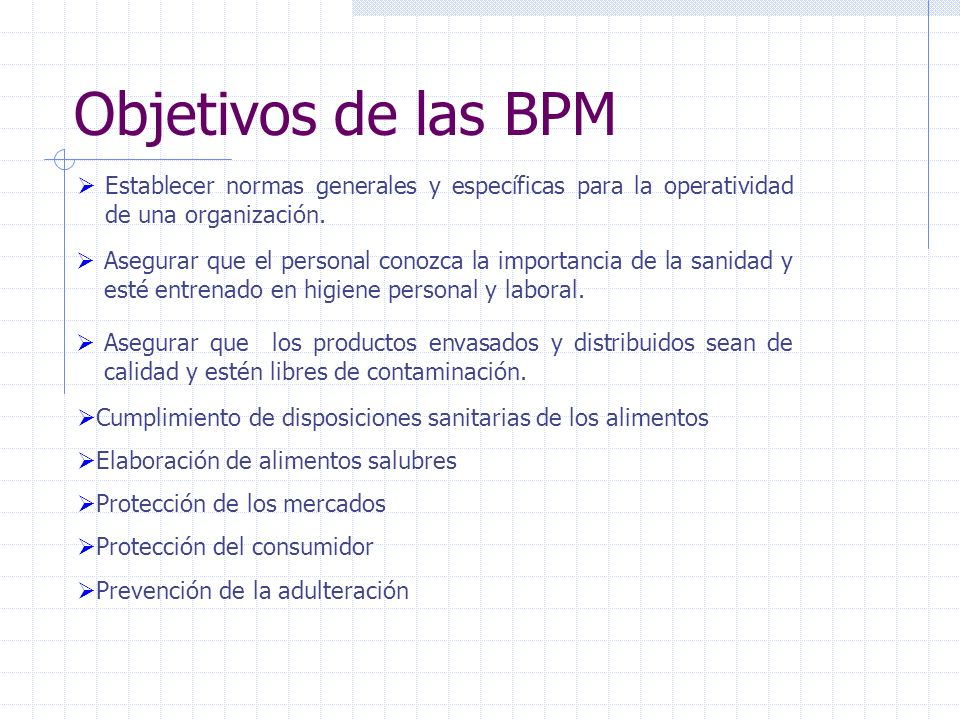 Objetivos de las BPM Establecer normas generales y específicas para la operatividad de una organización.