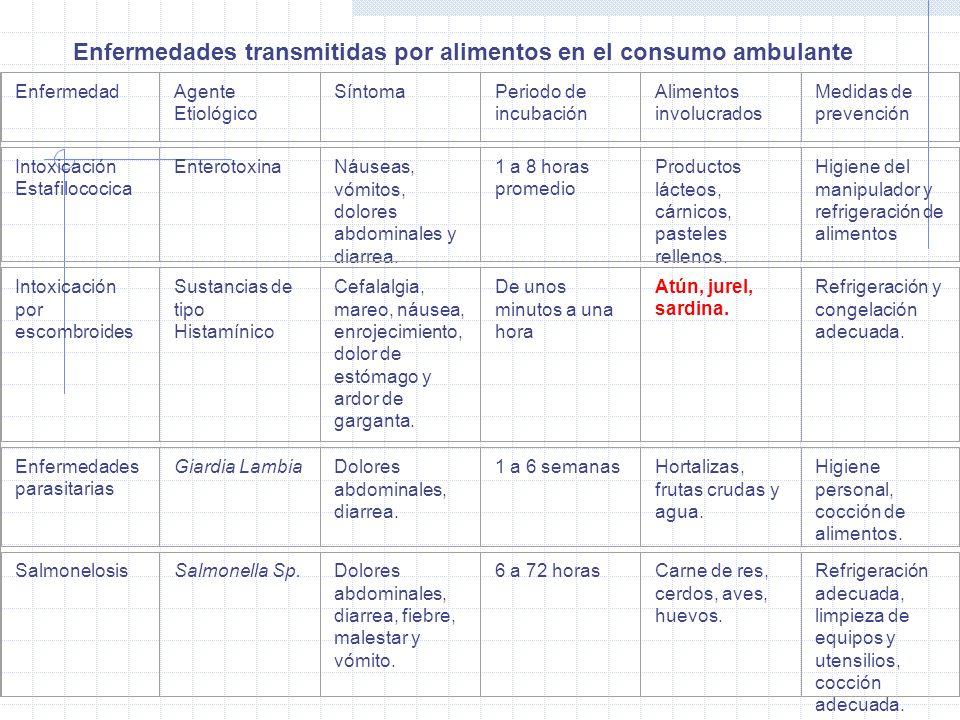 Enfermedades transmitidas por alimentos en el consumo ambulante