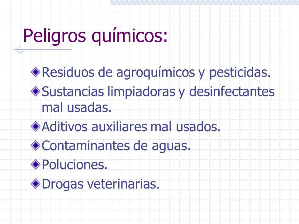 Peligros químicos: Residuos de agroquímicos y pesticidas.