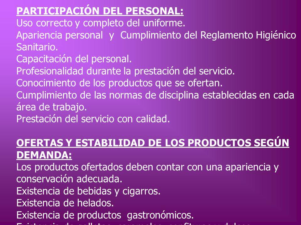 PARTICIPACIÓN DEL PERSONAL: