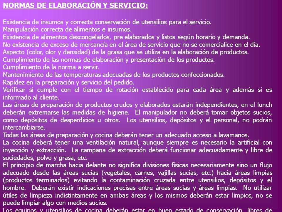 NORMAS DE ELABORACIÓN Y SERVICIO: