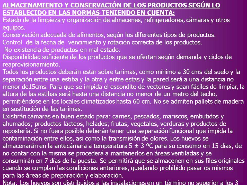 ALMACENAMIENTO Y CONSERVACIÓN DE LOS PRODUCTOS SEGÚN LO ESTABLECIDO EN LAS NORMAS TENIENDO EN CUENTA: