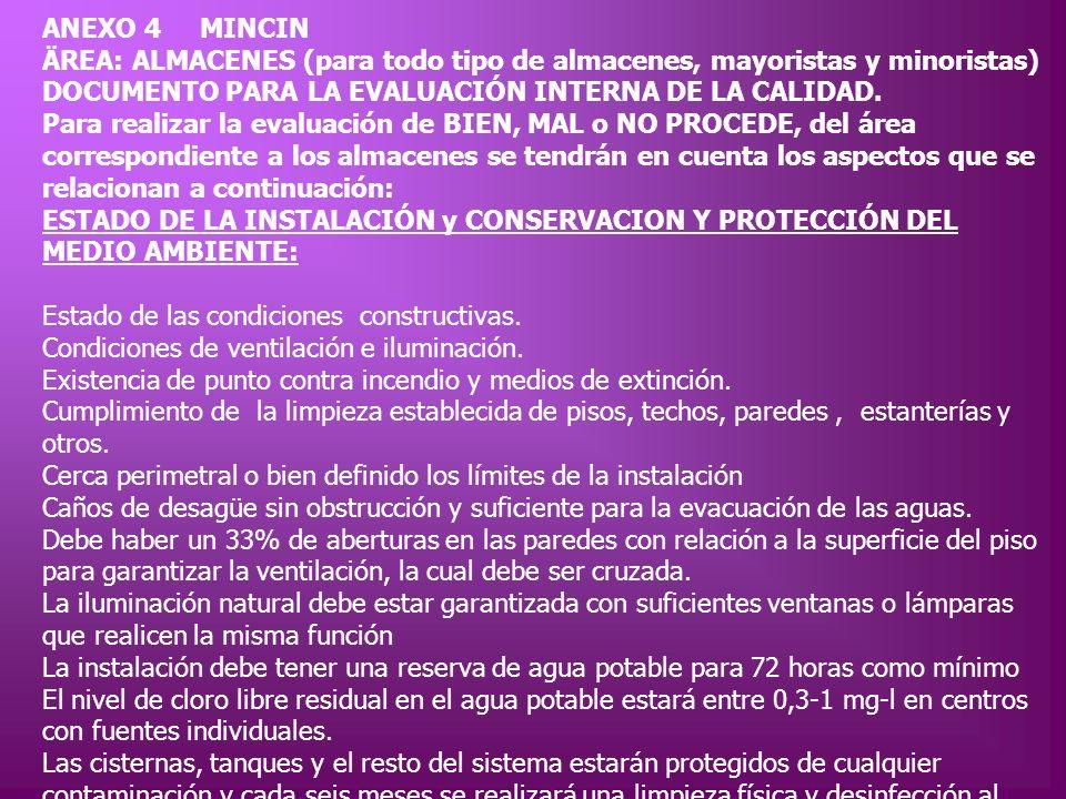 ANEXO 4 MINCIN ÄREA: ALMACENES (para todo tipo de almacenes, mayoristas y minoristas) DOCUMENTO PARA LA EVALUACIÓN INTERNA DE LA CALIDAD.