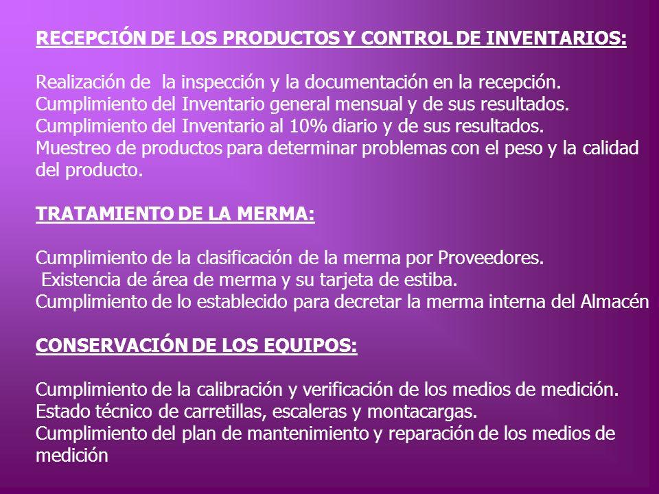 RECEPCIÓN DE LOS PRODUCTOS Y CONTROL DE INVENTARIOS: