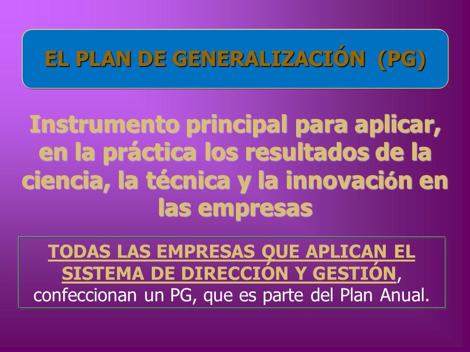 EL PLAN DE GENERALIZACIÓN (PG)