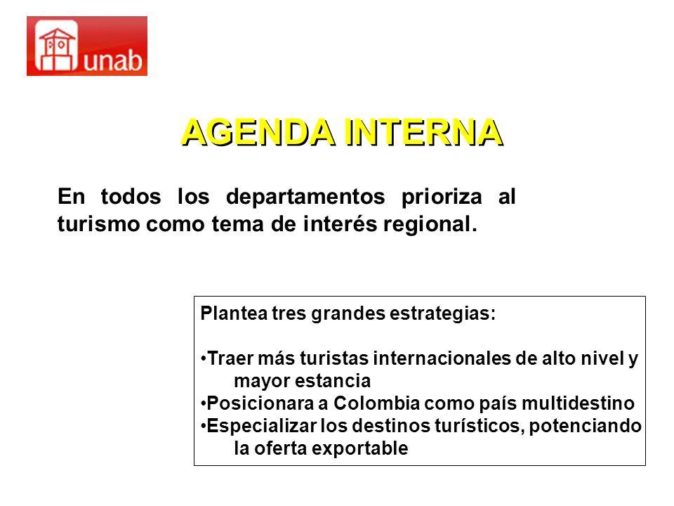 AGENDA INTERNA En todos los departamentos prioriza al turismo como tema de interés regional. Plantea tres grandes estrategias: