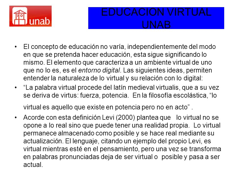 EDUCACION VIRTUAL UNAB