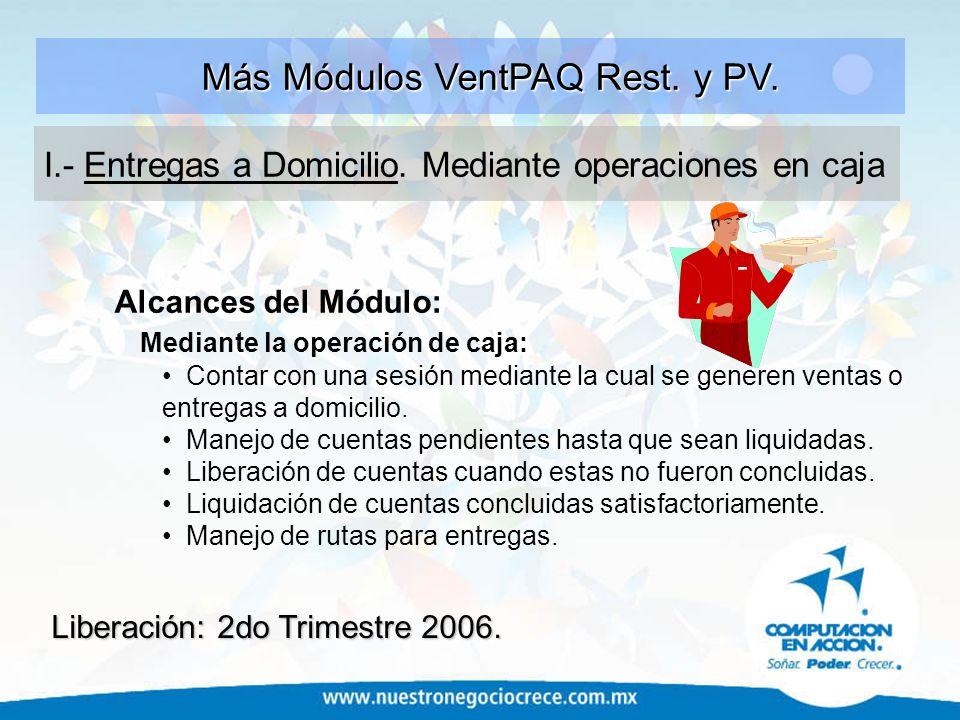 Más Módulos VentPAQ Rest. y PV.
