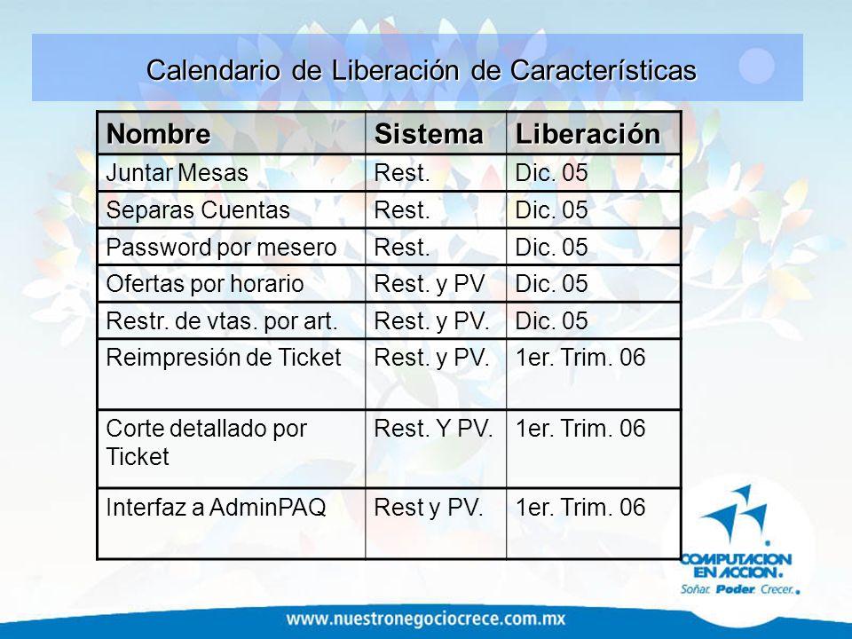 Calendario de Liberación de Características