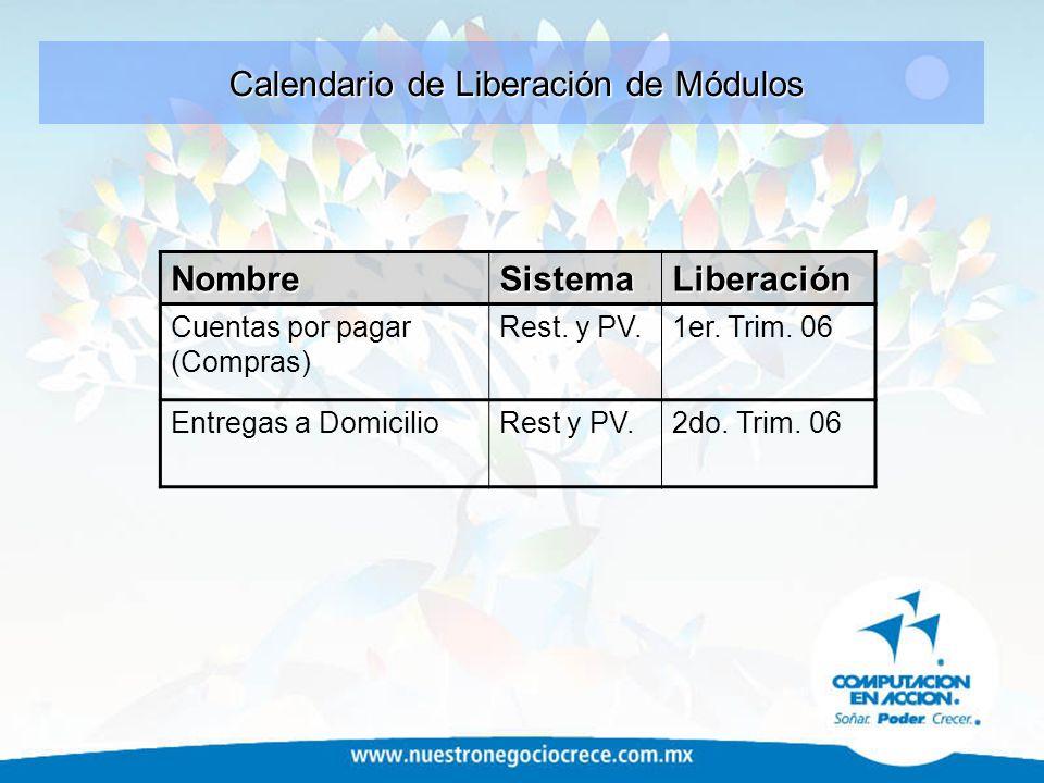 Calendario de Liberación de Módulos