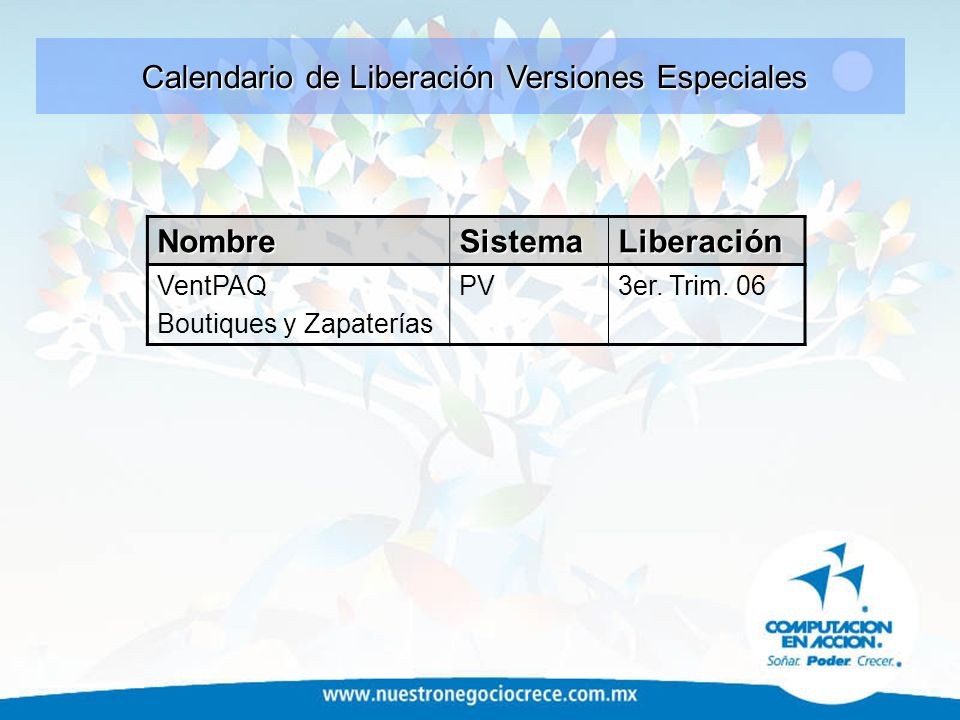 Calendario de Liberación Versiones Especiales