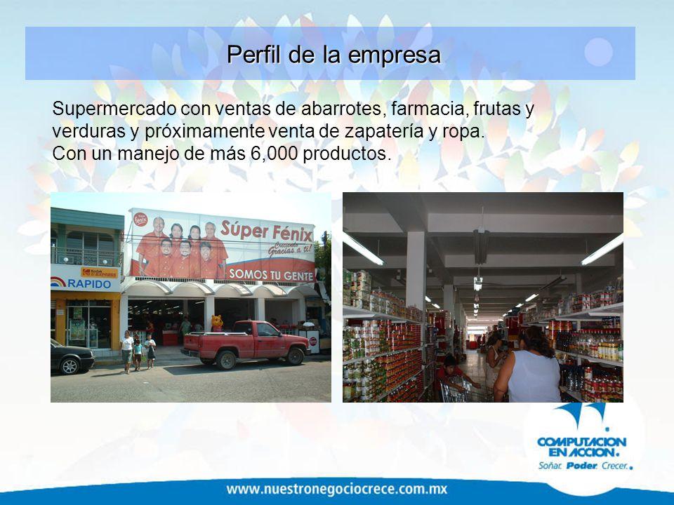 Perfil de la empresa Supermercado con ventas de abarrotes, farmacia, frutas y verduras y próximamente venta de zapatería y ropa.