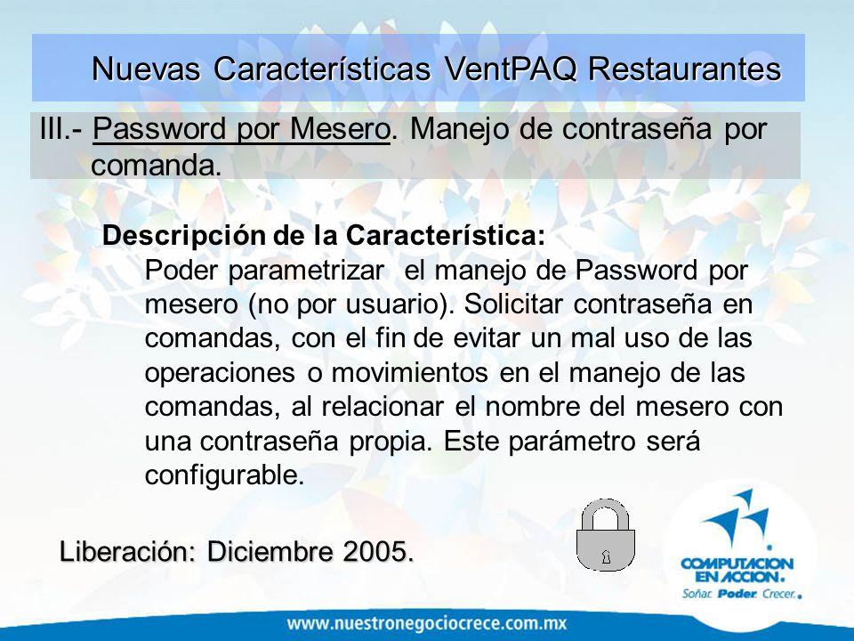 Nuevas Características VentPAQ Restaurantes