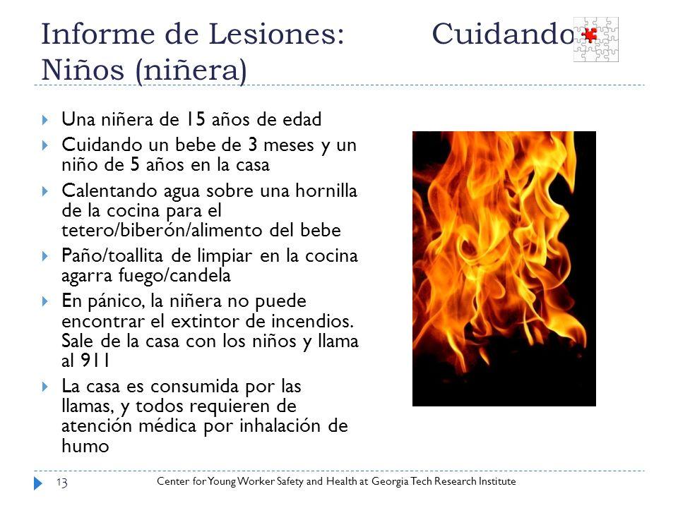 Informe de Lesiones: Cuidando Niños (niñera)