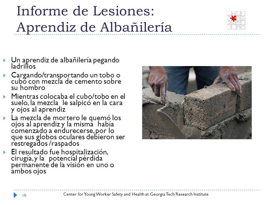 Informe de Lesiones: Aprendiz de Albañilería