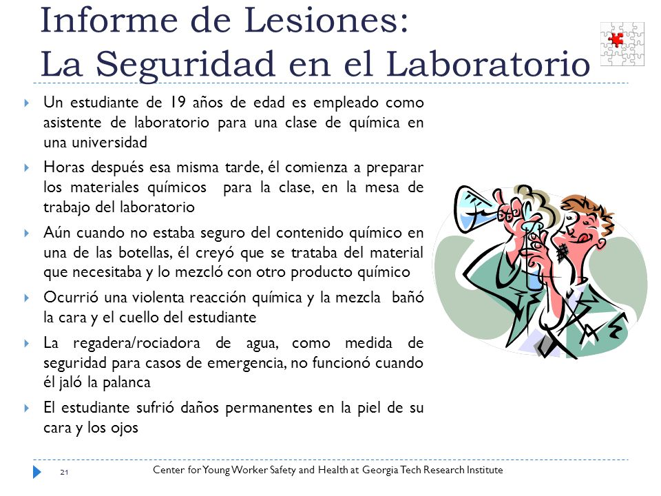 Informe de Lesiones: La Seguridad en el Laboratorio